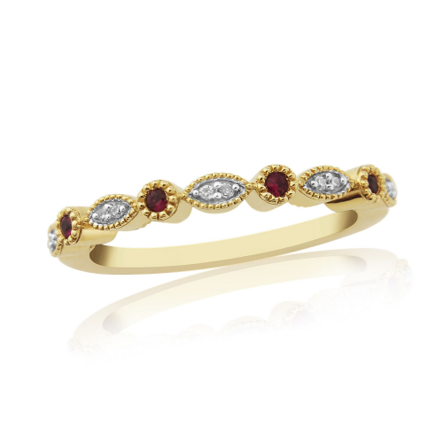 Yellow Gold Grain Ruby And Diamond Eternity Ring